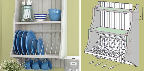A plate rack & Simple and Effective Ways to Organize a Tiny Kitchen - Citchen