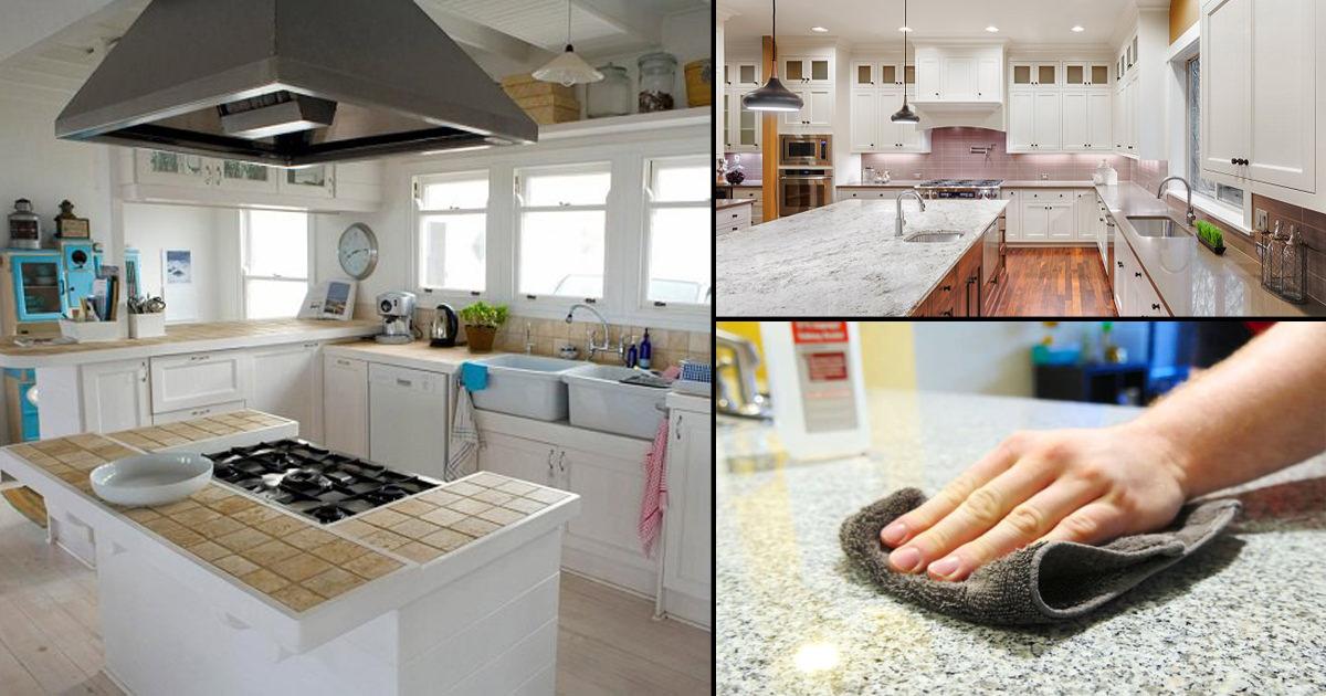 types of kitchen countertops | Best Ways to Clean Different Types of Kitchen Countertops ...